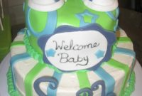 Modern Lime Green, Blue And White Baby Shower Cake – Cakecentral intended for Beautiful Blue And Green Baby Shower