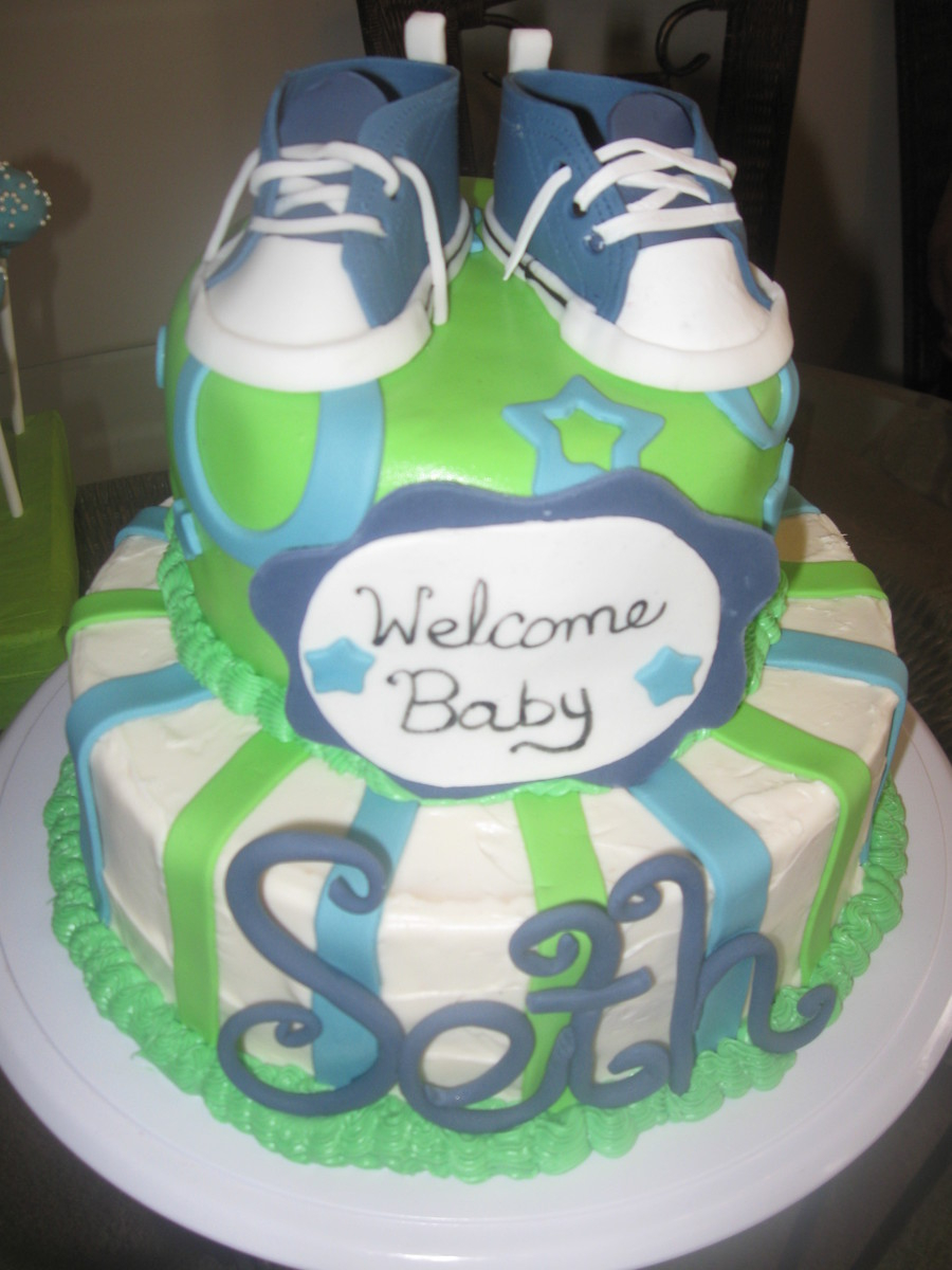 Modern Lime Green, Blue And White Baby Shower Cake - Cakecentral intended for Beautiful Blue And Green Baby Shower