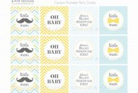 Modern Little Man Mustache Party Circles For Cupcake Toppers, Gift Tags regarding Little Man Baby Shower Free Printables