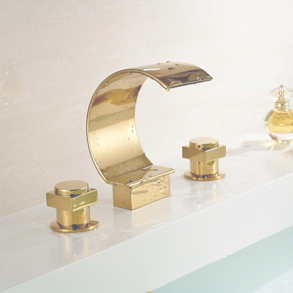 Modern Lorraine Gold Plated Dual Handle Faucet In Vessel Sink Faucet with regard to High Quality Brass Bathroom Sink
