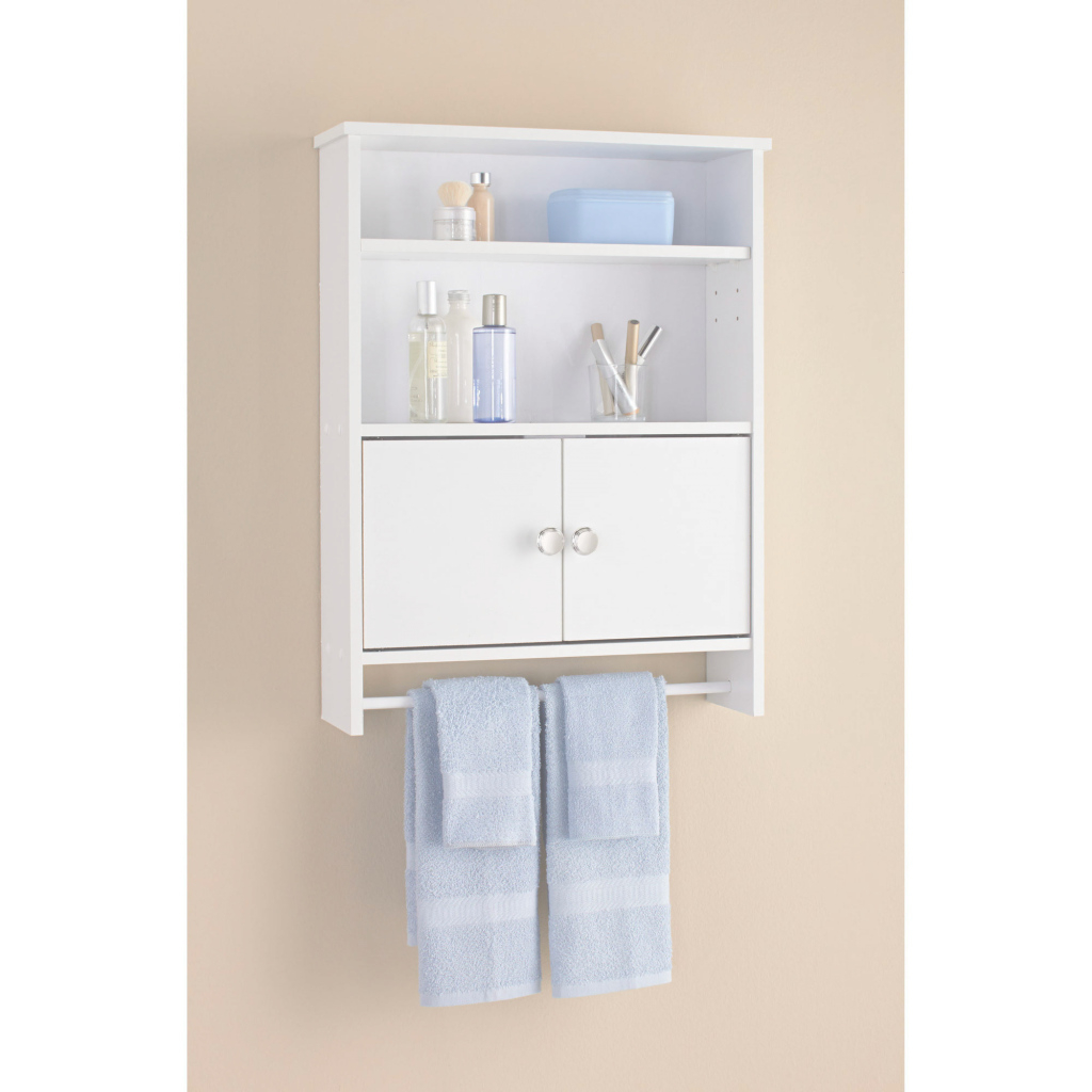 Modern Mainstays 2-Door Bathroom Wall Cabinet, White - Walmart within Set Wall Bathroom Cabinets