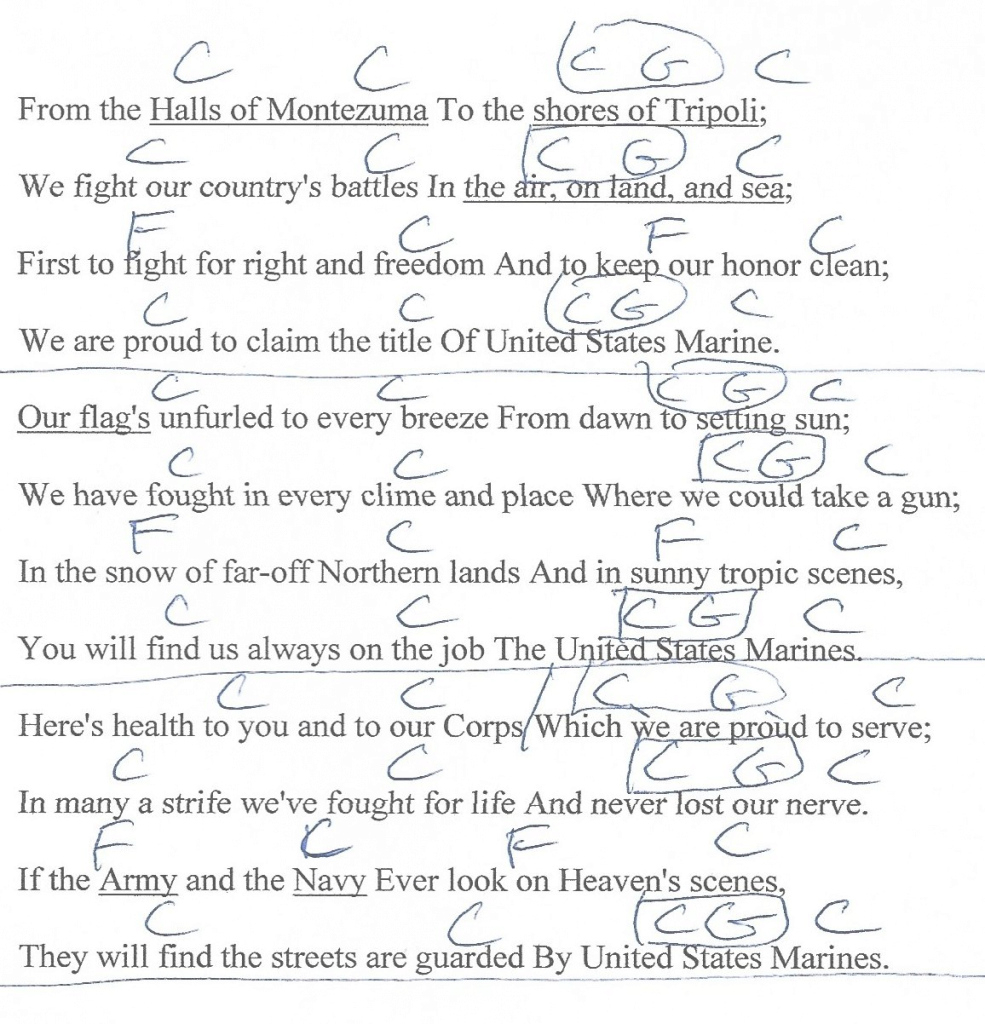 Modern Marine Corp Hymn (Halls Of Montezuma) Guitar Chord Chart With Lyrics with regard to Bungalow Bill Chords