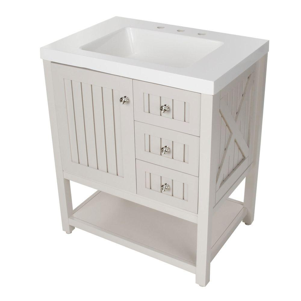 Modern Martha Stewart Living Seal Harbor 30-1/4 In. W Bath Vanity In inside Set Bathroom Vanity With Top
