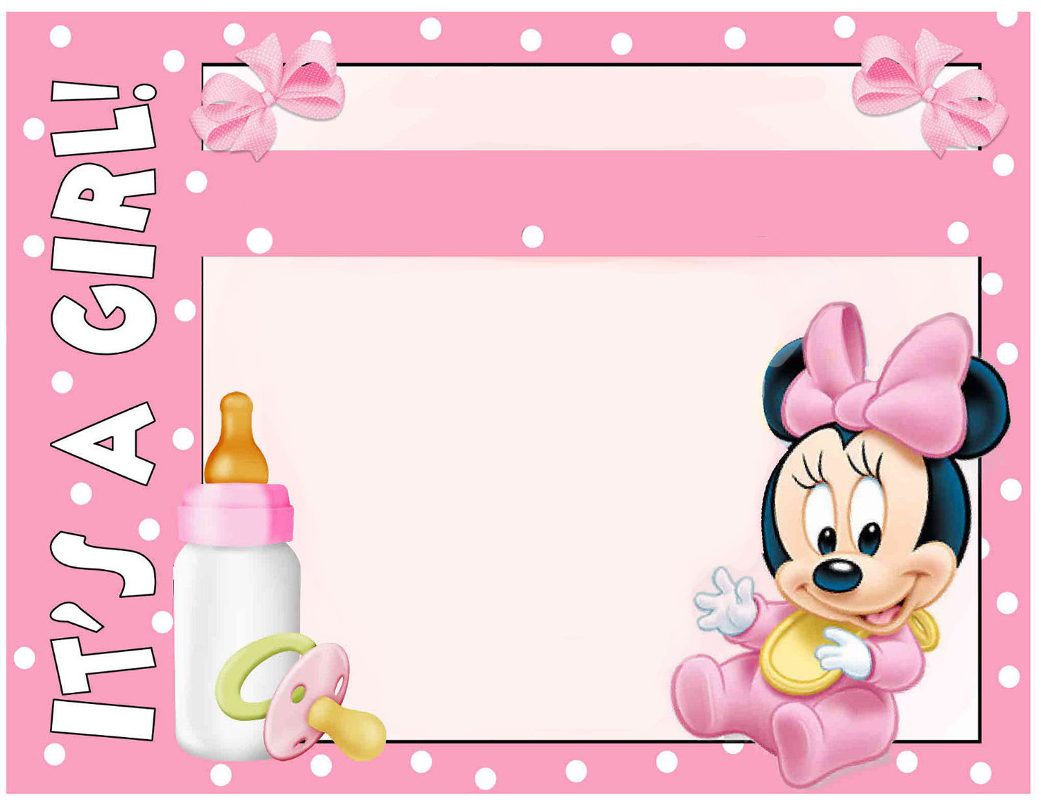 Modern Minnie Mouse Baby Shower Invitation - Free Printable Invitation with Minnie Mouse Baby Shower Invitations