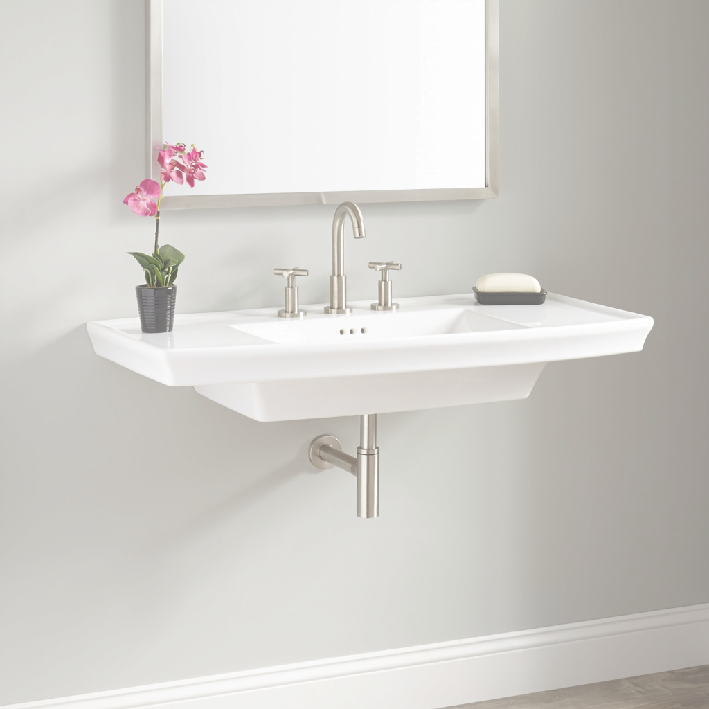Modern Olney Porcelain Wall-Mount Sink - Bathroom with Wall Mount Bathroom Sink