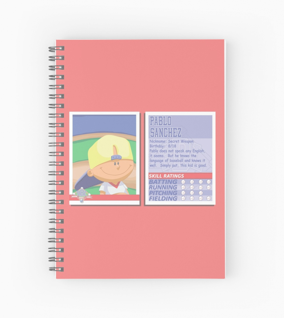 "Modern Pablo Sanchez - Backyard Baseball Stat Card"" Spiral Notebooks with regard to Lovely Pablo Sanchez Backyard Baseball"