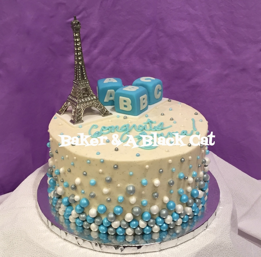 Modern Paris-Themed Baby Shower Cake - It's A Boy! - Cakecentral intended for Paris Baby Shower Cake