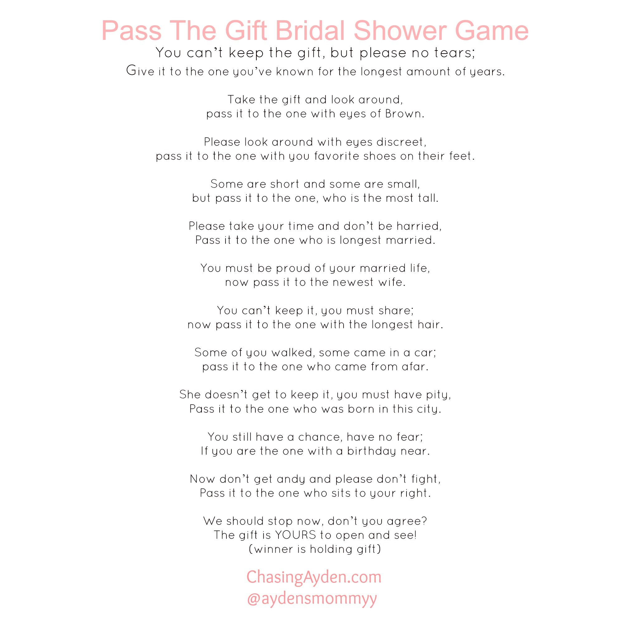 Modern Pass The Gift Bridal Shower Game Free Printable Http:/chasingayden regarding Pass The Gift Baby Shower Game