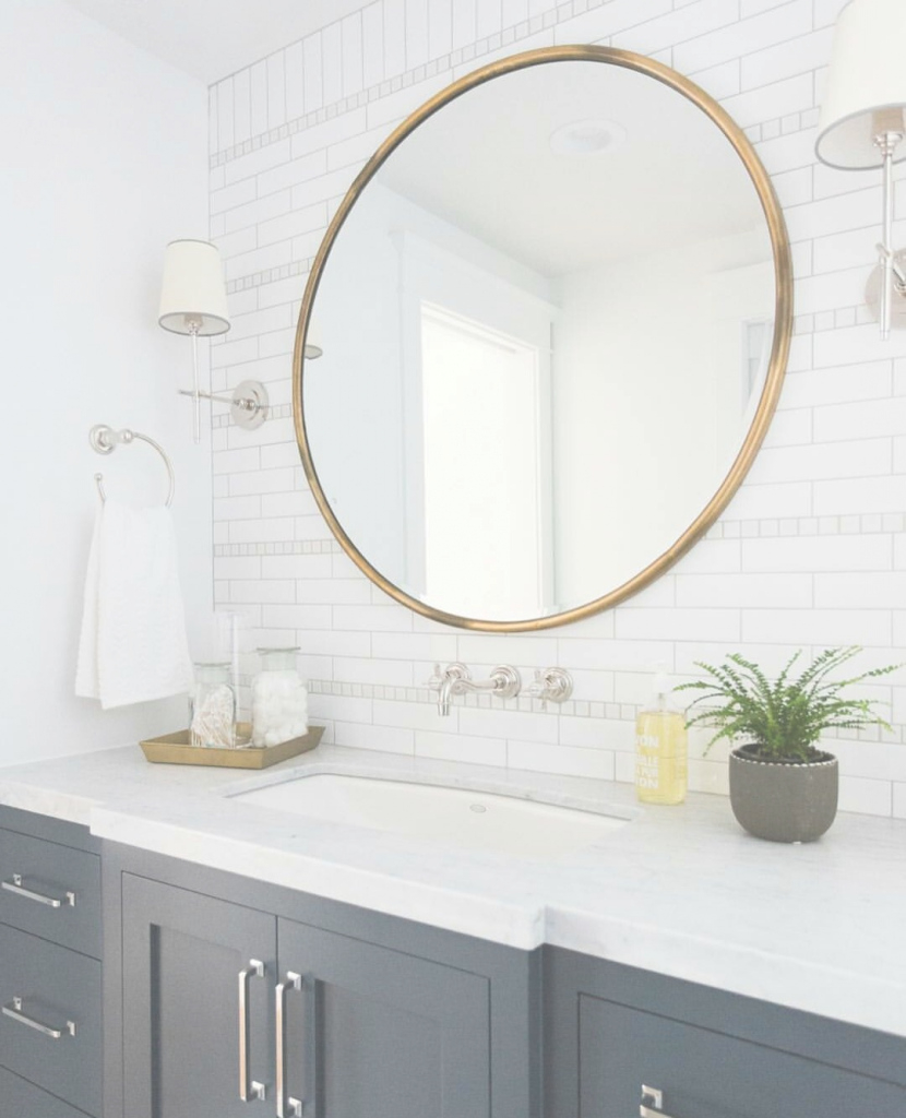 Modern Pinlacey Terry On B A T H R O O M | Pinterest | Bath, Office regarding Brass Bathroom Mirror