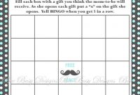 Modern Printable Little Man Mustache 2 Baby Shower Bingo Game Instant inside Little Man Baby Shower Free Printables