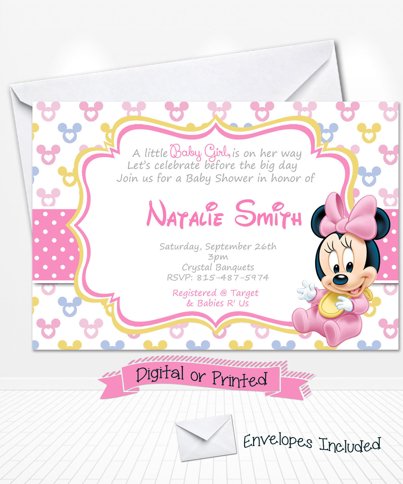 Modern Printed Baby Minnie Mouse Baby Shower Invitations Minnie Party regarding Review Minnie Mouse Baby Shower Invitations