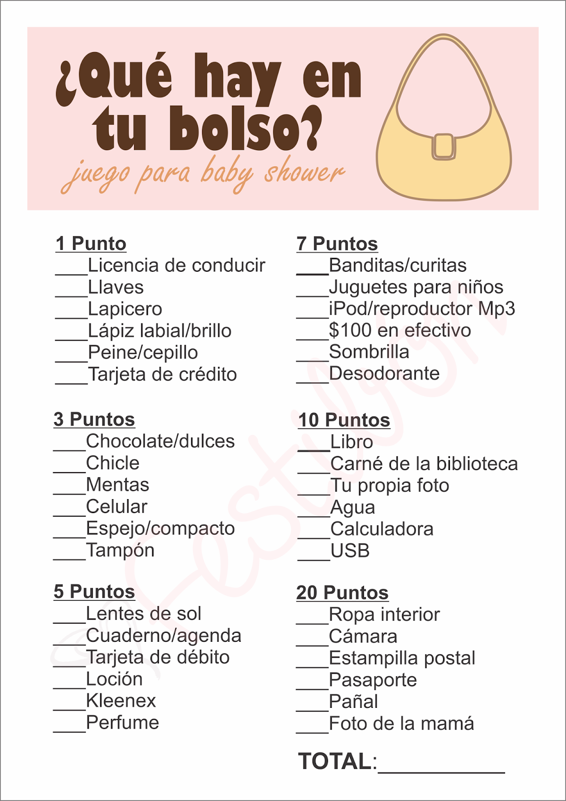 Modern Qué Hay En Tu Bolso? - Juegos Para Baby Shower Para Imprimir intended for Awesome Juegos Para Baby Shower