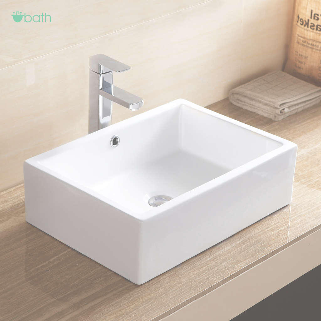 Modern Rectangle Bathroom Porcelain Ceramic Vessel Sink Basin Bowl Faucet for Fresh Bowl Bathroom Sink