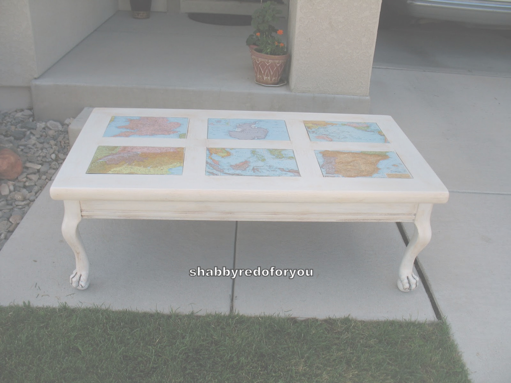 Modern Shabby Redo For You !: Shabby Coffee Table With Decoupage World Maps intended for Decoupage Coffee Table