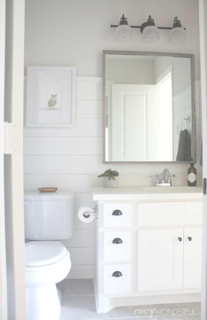 Modern Shiplap Boy's Bathroom Reveal - Crazy Wonderful pertaining to Bathrooms With Shiplap