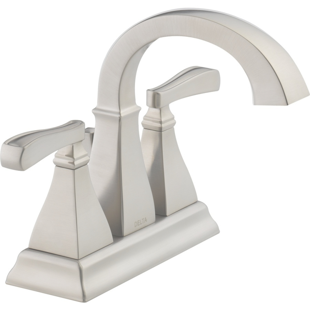 Modern Shop Delta Olmsted Spotshield Brushed Nickel 2-Handle 4-In Centerset pertaining to Satin Nickel Bathroom Faucet