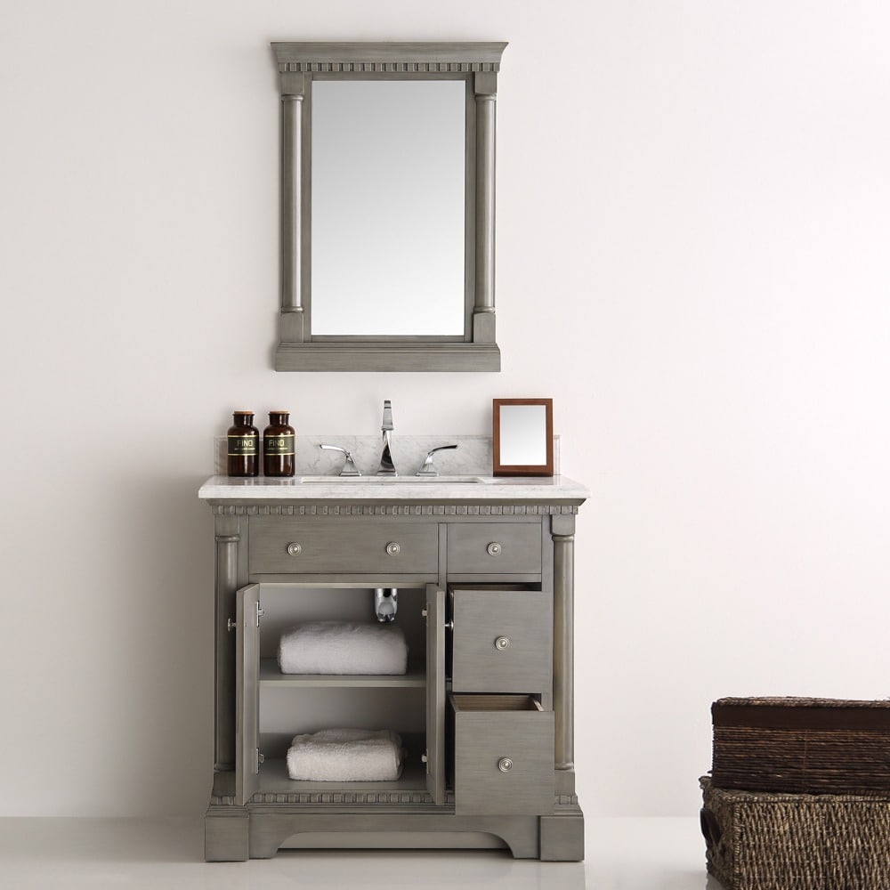 Modern Shop Fresca Kingston Antique Silver 36-Inch Traditional Bathroom intended for Traditional Bathroom Vanity
