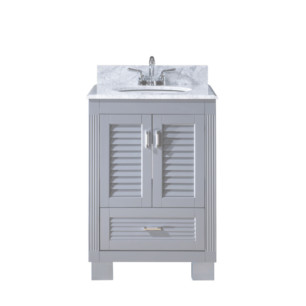 Modern Shop Venus Grey Undermount Single Sink Bathroom Vanity With Natural pertaining to 24 Bathroom Vanity And Sink