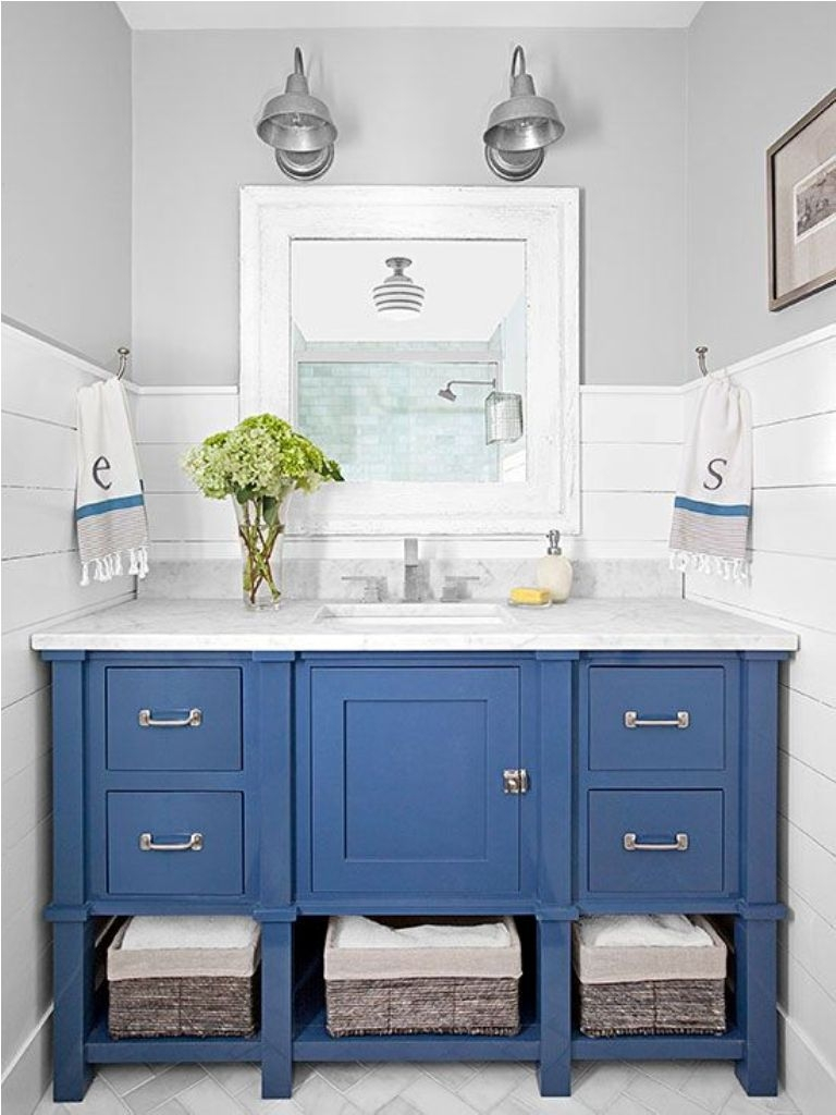Modern Stylish Wicker Baskets And Elegant Blue Vanity Cabinet For Small regarding High Quality Blue Bathroom Vanity Cabinet