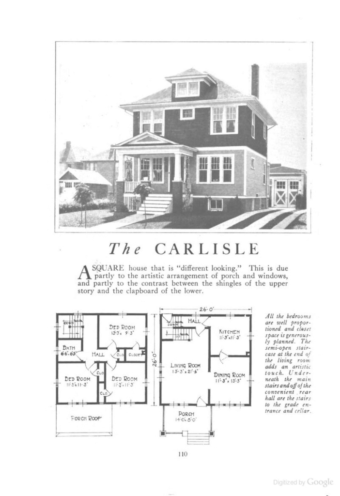 Modern The Carlisle (An American Foursquare Kit House/house Plan) - Homes in American Foursquare Floor Plans Images