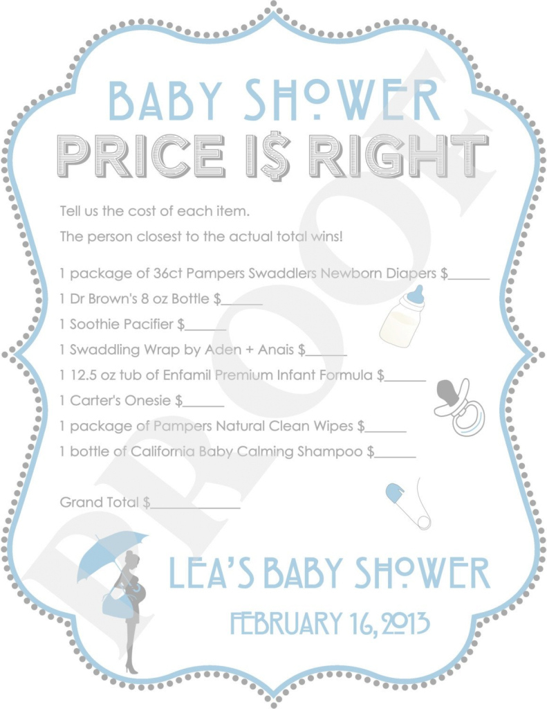 Modern The Price Is Right Baby Shower Game Blue (Jpeg File). $10.00, Via regarding Baby Shower Price Is Right