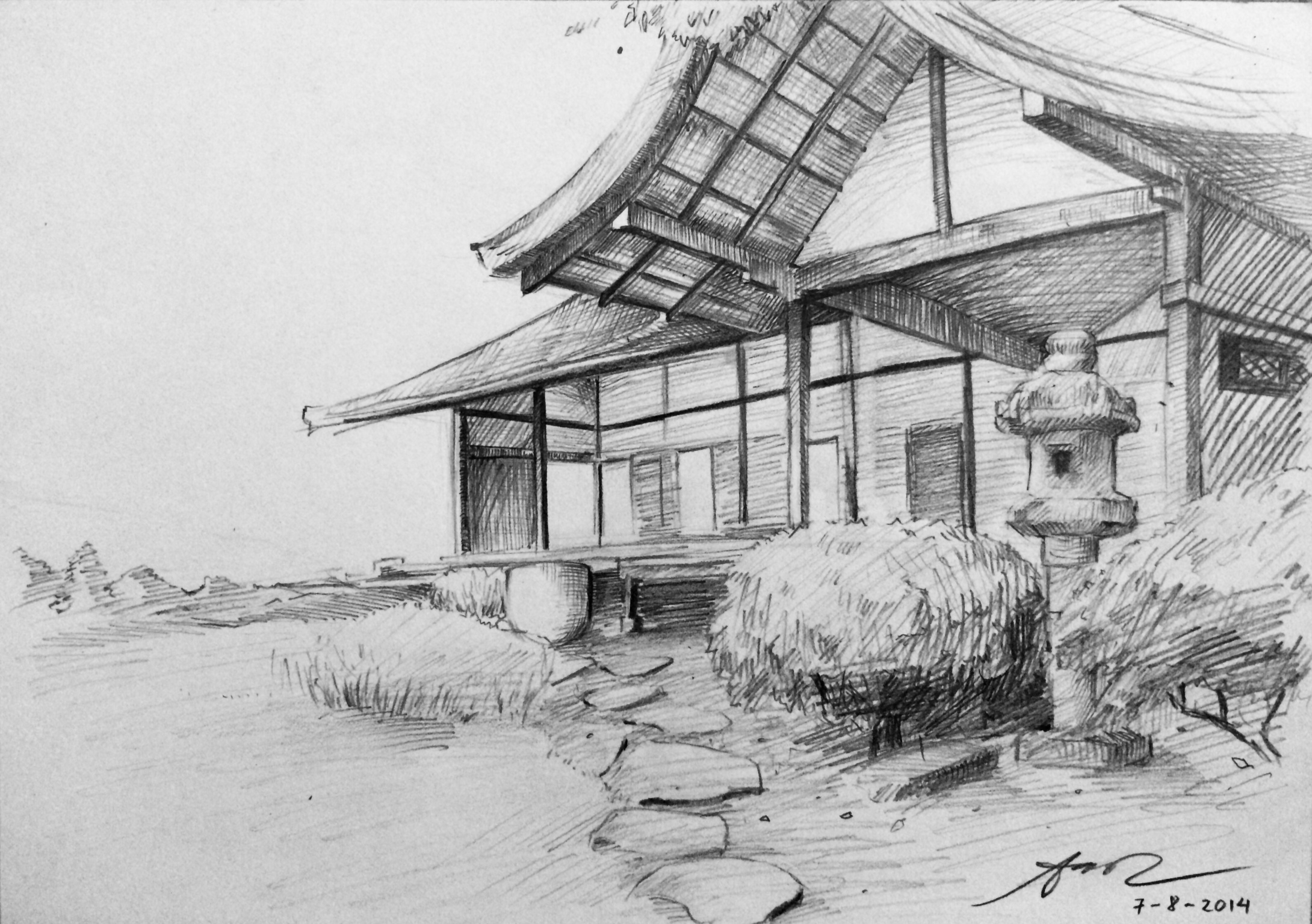 Modern Traditional Japanese House Sketchaoicancerius On Deviantart for Japanese Landscape Drawing