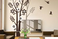Modern Tree Wall Decal With Birds Tree Shadow For Living Room Bedroom Vinyl intended for Tree Wall Decals For Living Room