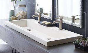 Modern Trough 4819 - Double Basin Nativestone® Bathroom Sink | Native Trails regarding Set Bathroom Vanity With Trough Sink