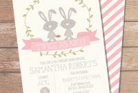 Modern Twin Bunny Baby Shower Invitation For Girls Invitations Online inside Baby Shower Invitations For Twins