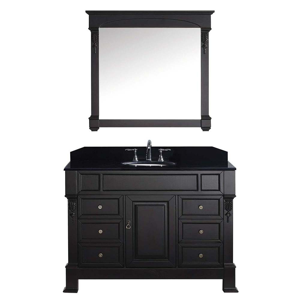 "Modern Virtu Usa Huntshire Manor 48"" Single Bathroom Vanity In Dark Walnut intended for Dark Bathroom Vanity"