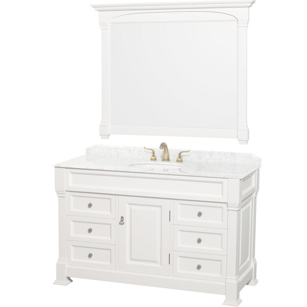 Modern Wyndham Collection Andover 55 In. Vanity In White With Marble Vanity in Elegant White Bathroom Vanity Home Depot