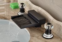 Modern Yakso Dual Handle Oil Rubbed Bronze Water Fall Bathroom Sink Faucet pertaining to Set Oil Rubbed Bronze Bathroom Sink Faucet