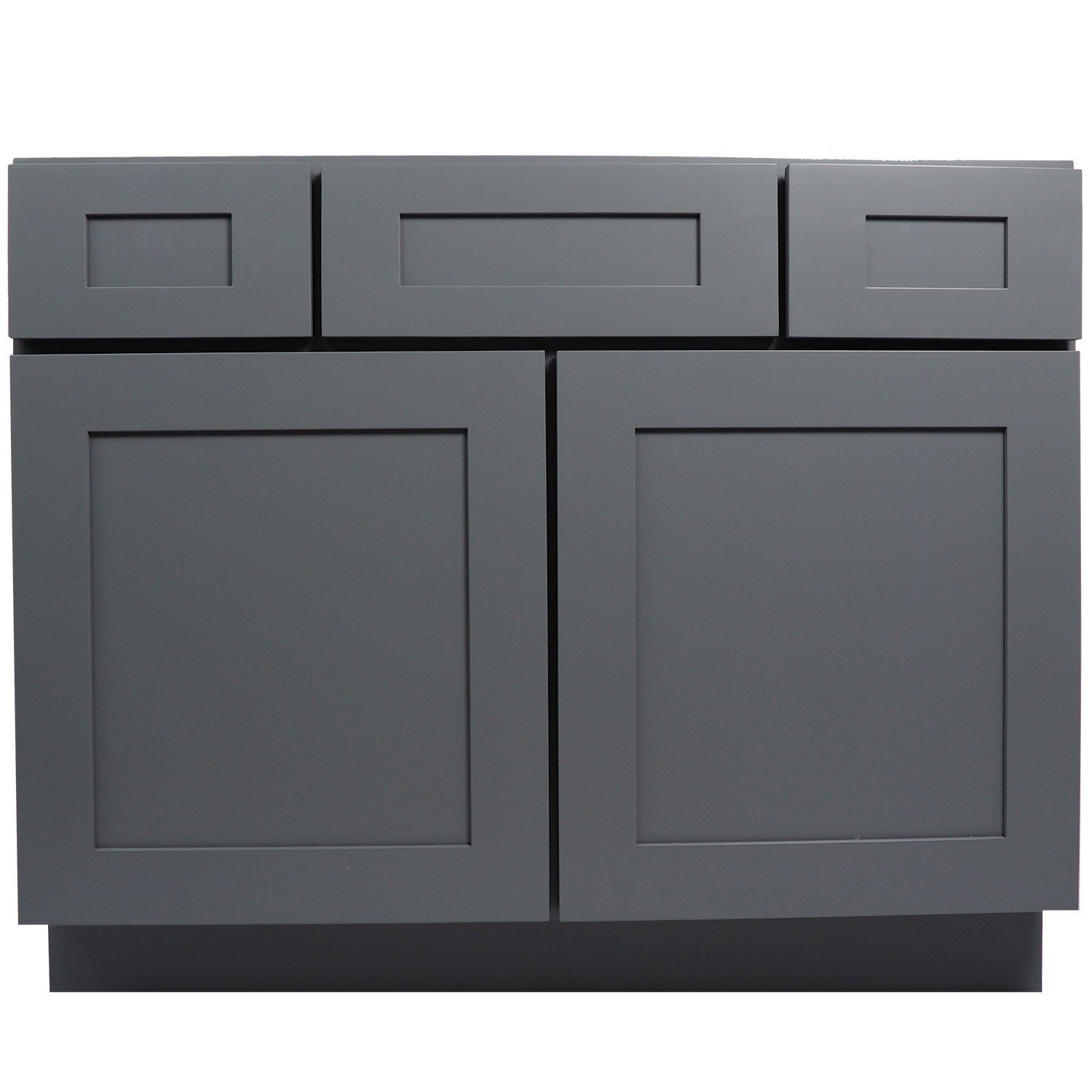 Modular 42 Inch Bathroom Vanity Cabinet In Solid Wood Shaker Gray With Soft pertaining to 42 Bathroom Vanity Cabinets