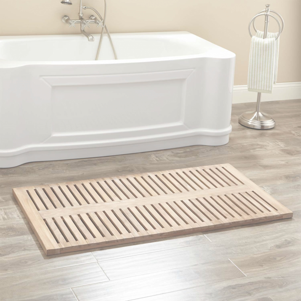 "Modular 47"" X 24"" Rectangular Teak Shower Mat - Bathroom throughout Bathroom Floor Mat"