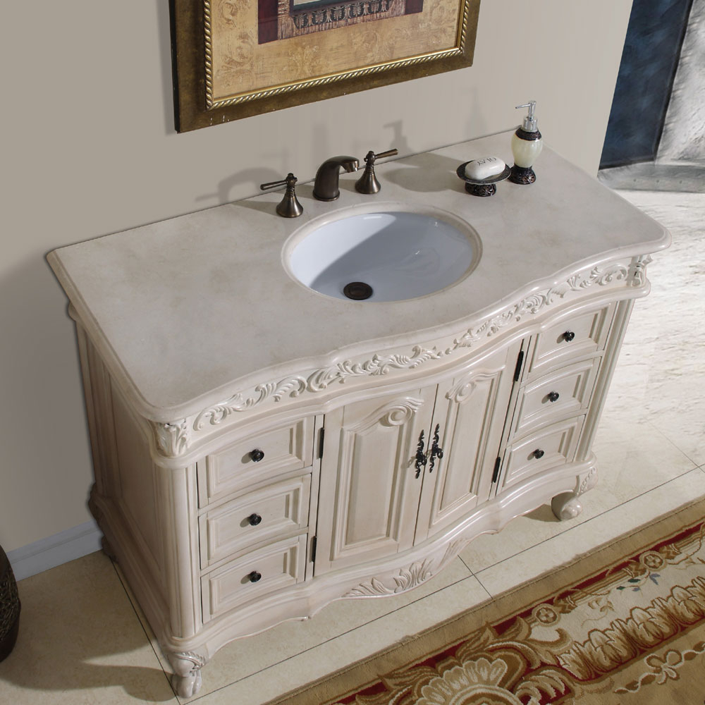 "Modular 48"" Ella - Bathroom Vanity Single Sink Cabinet (White Oak Finish inside 44 Bathroom Vanity"
