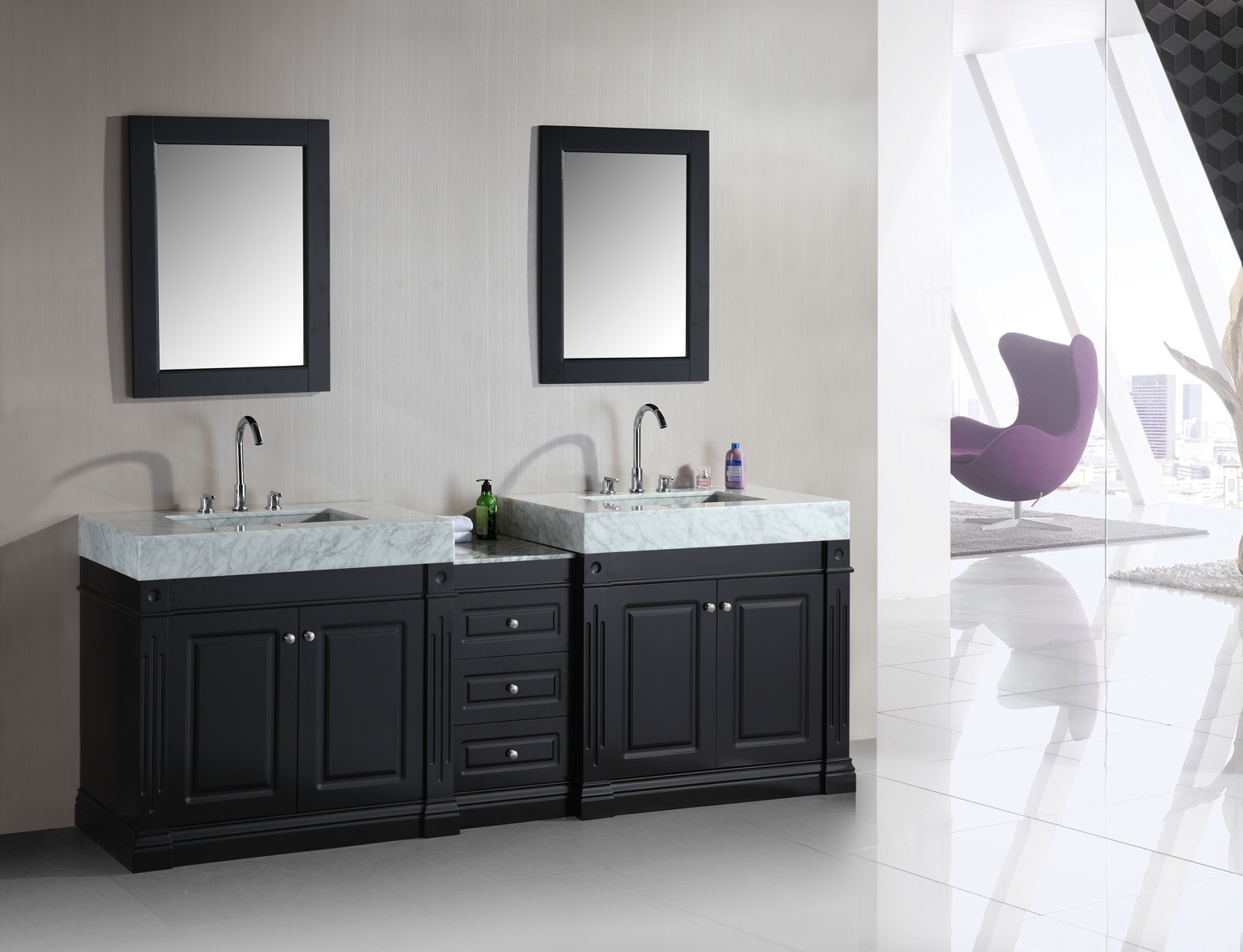 Modular Adorna 88 Inch Double Sink Bathroom Vanity Set With Trough Style Sinks with Luxury Bathroom Sink Vanities