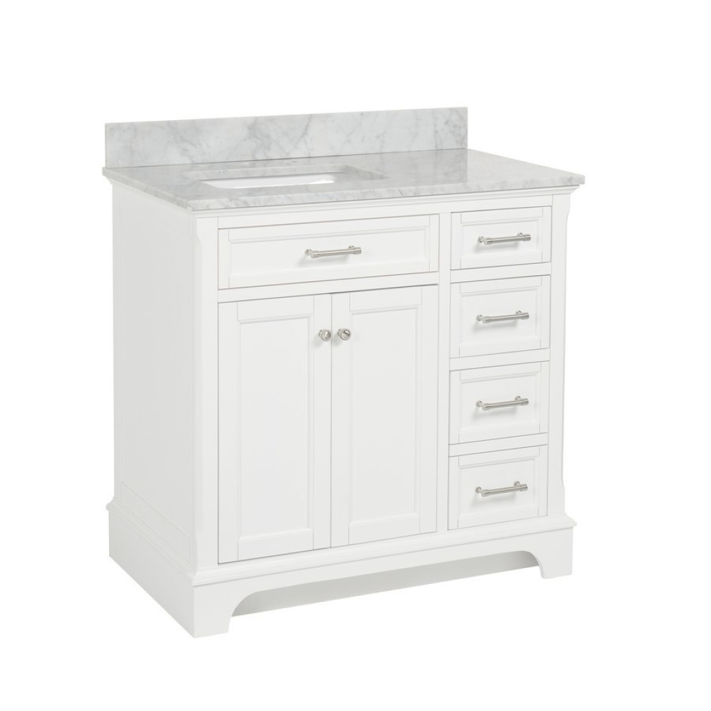 Modular Allen + Roth Roveland White Undermount Single Sink Birch/poplar for Beautiful Allen And Roth Bathroom Vanities