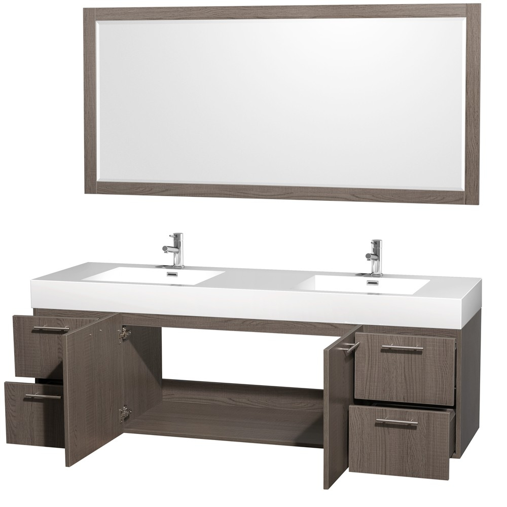 Modular Amare 72 Inch Wall Mounted Double Bathroom Vanity Set With intended for Bathroom Vanities Double Sink 72