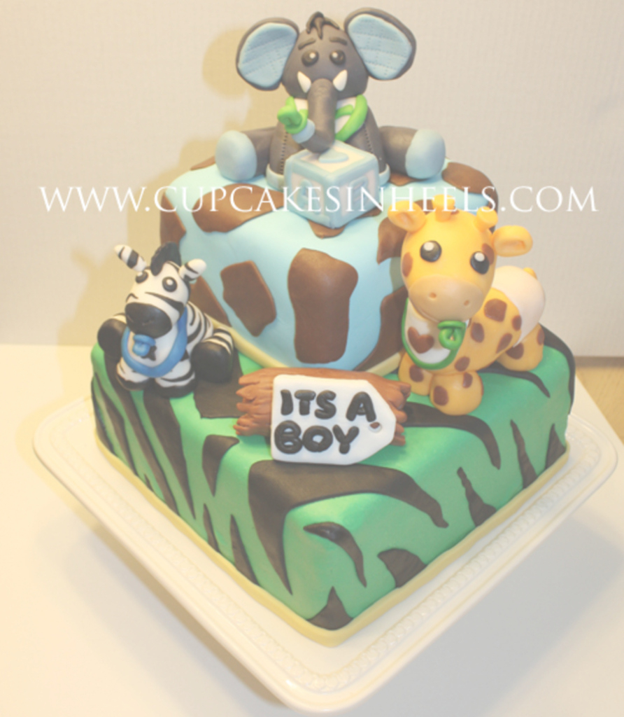 Modular Baby Safari Animals Baby Shower Cake (Elephant) - Cakecentral in Safari Animals Baby Shower