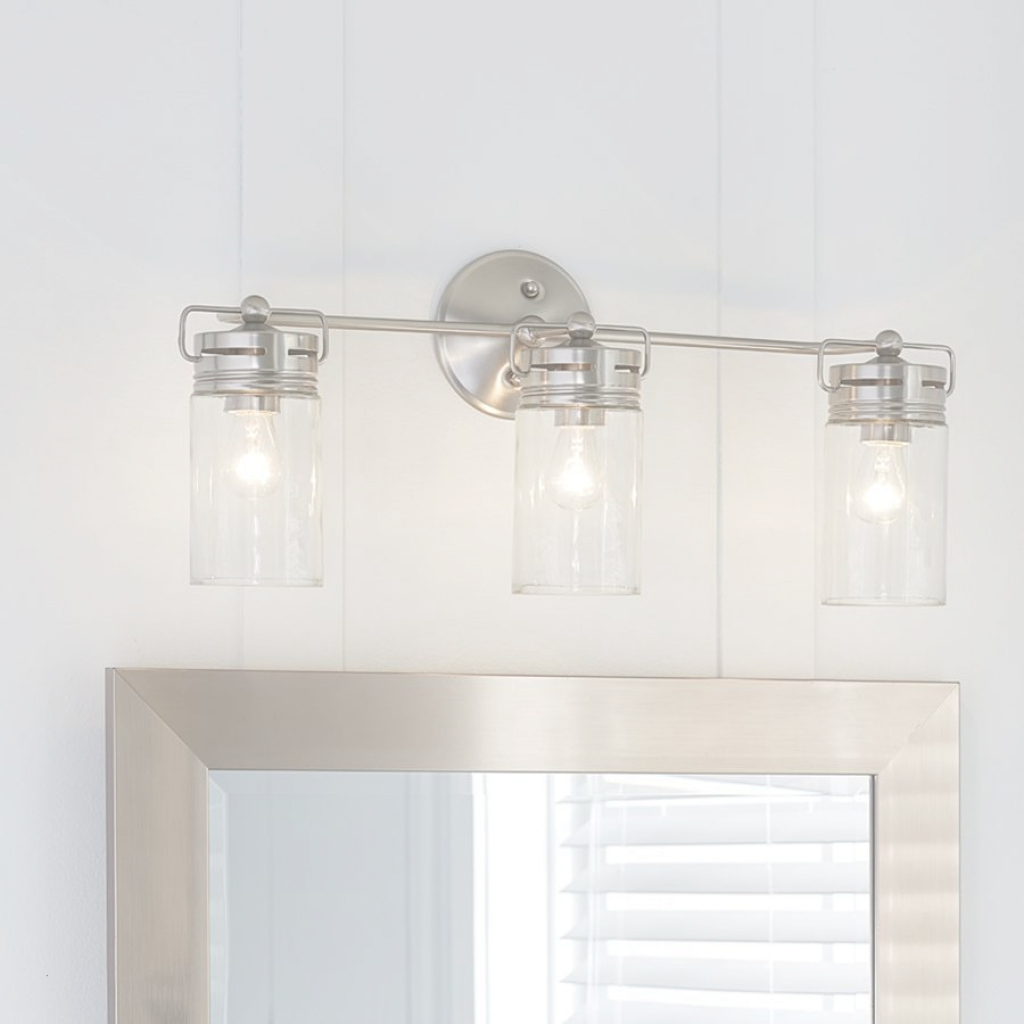 Modular Bathroom Bar Light Fixtures New Allen Roth 3 Light Vallymede Brushed within Allen And Roth Bathroom Vanities