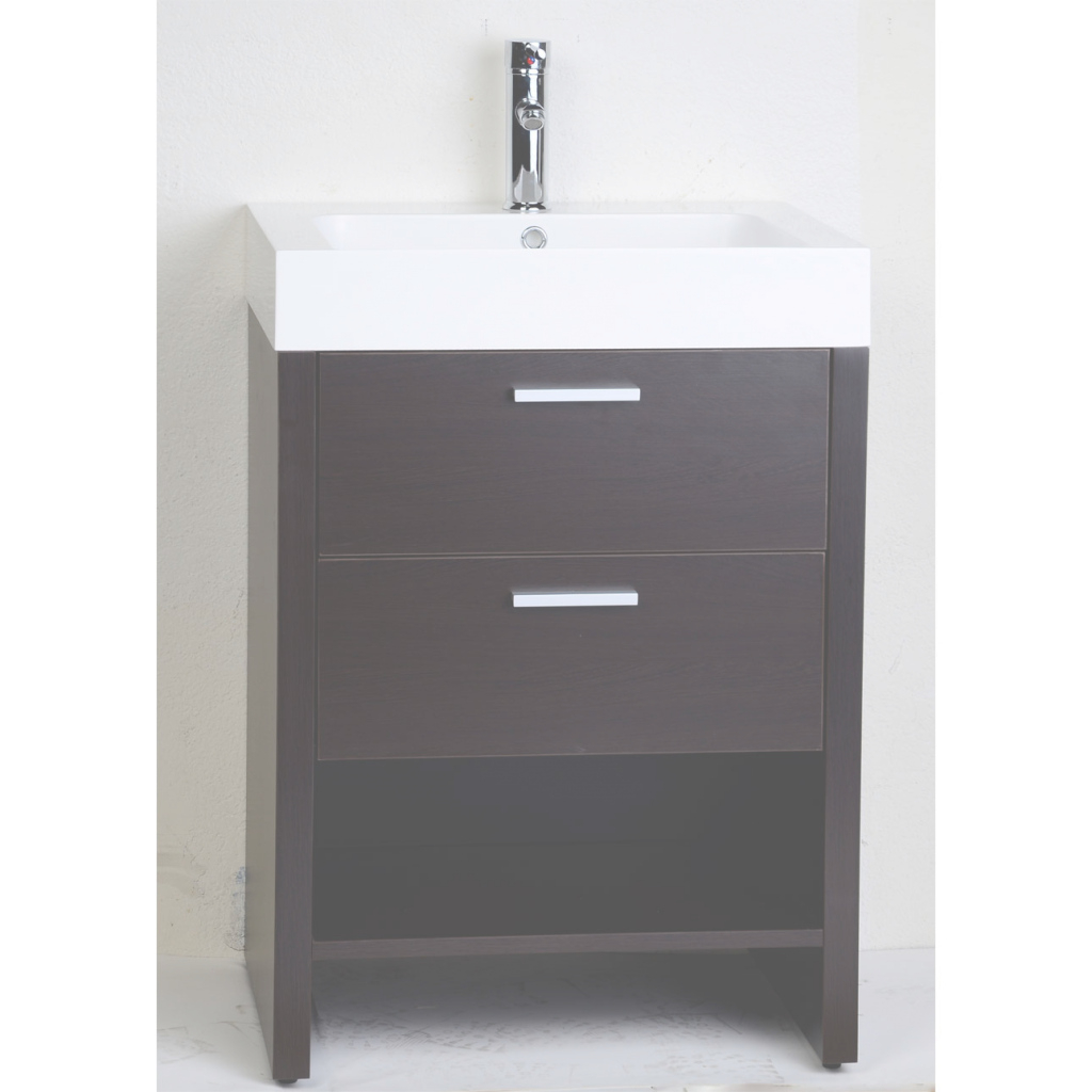 Modular Bathroom: Dark Brown Cabinet With Solid White Countertop And Sink for 24 Bathroom Vanity And Sink