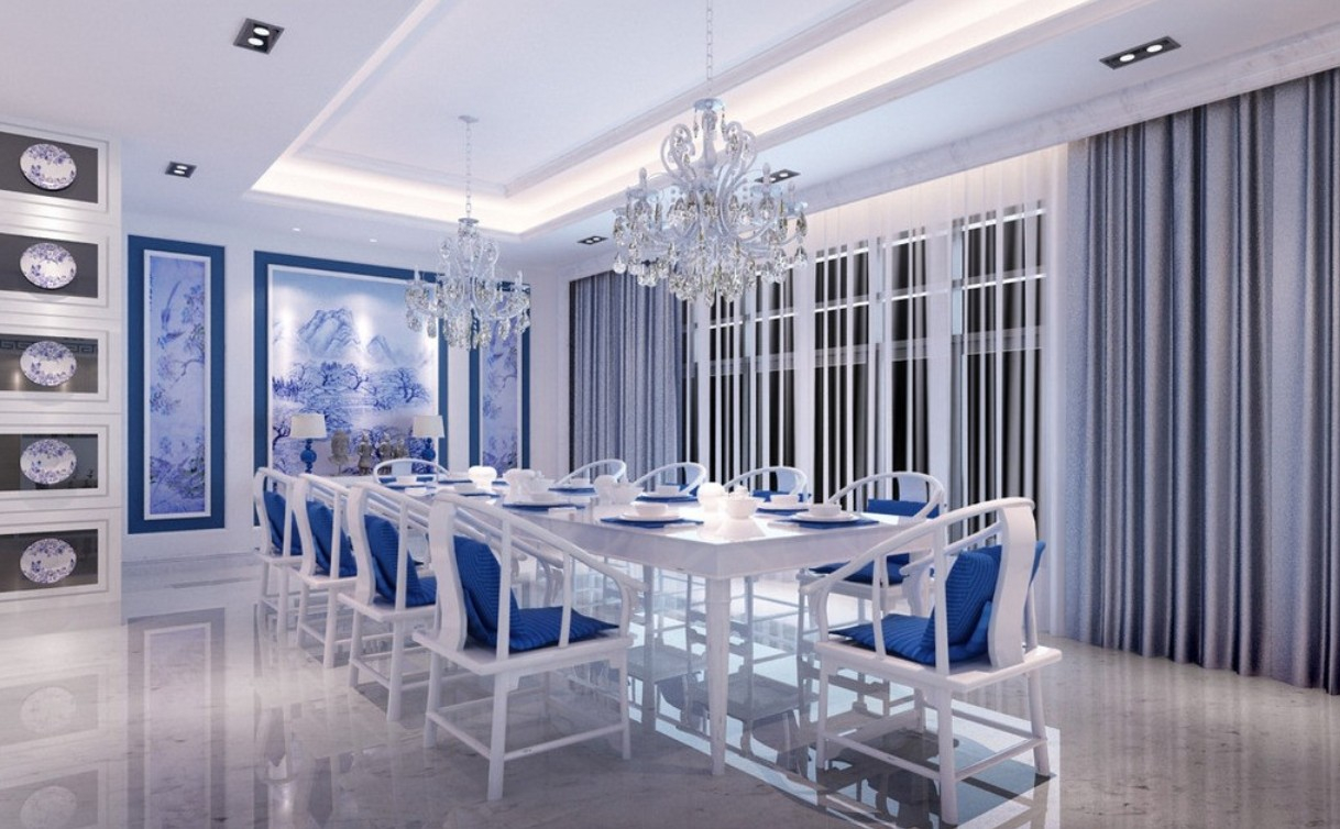 Modular Blue And White Dining Room Classic Wishbone Chairs In Lovely Blue throughout Review Light Blue Dining Room