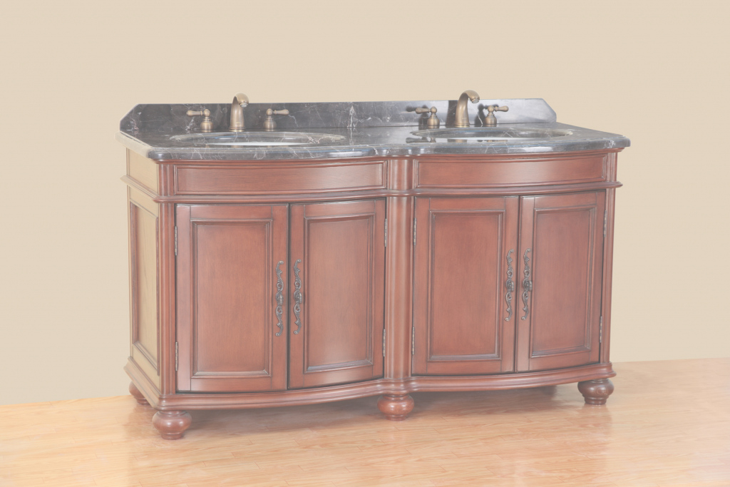 Modular Bosconi 59 Inch Antique Double Sink Bathroom Vanity, Antique Red Finish pertaining to Luxury 59 Inch Bathroom Vanity