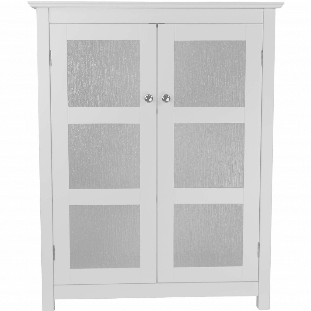 Modular Connor Floor Cabinet With 2 Glass Doors, White - Walmart for Best of Bathroom Floor Cabinet White