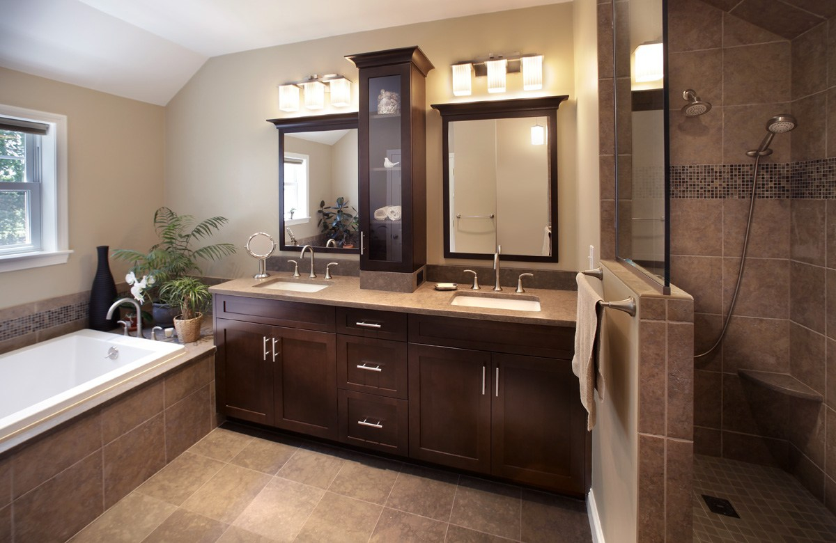 Modular Considerable Sink Cabinets Or Kitchen Remodeling Or Mccluskey pertaining to New Custom Bathroom Cabinets