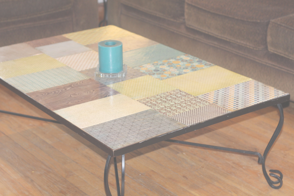 Modular Decoupaging An Ugly Coffee Table | Angry Ponytail inside Review Decoupage Coffee Table