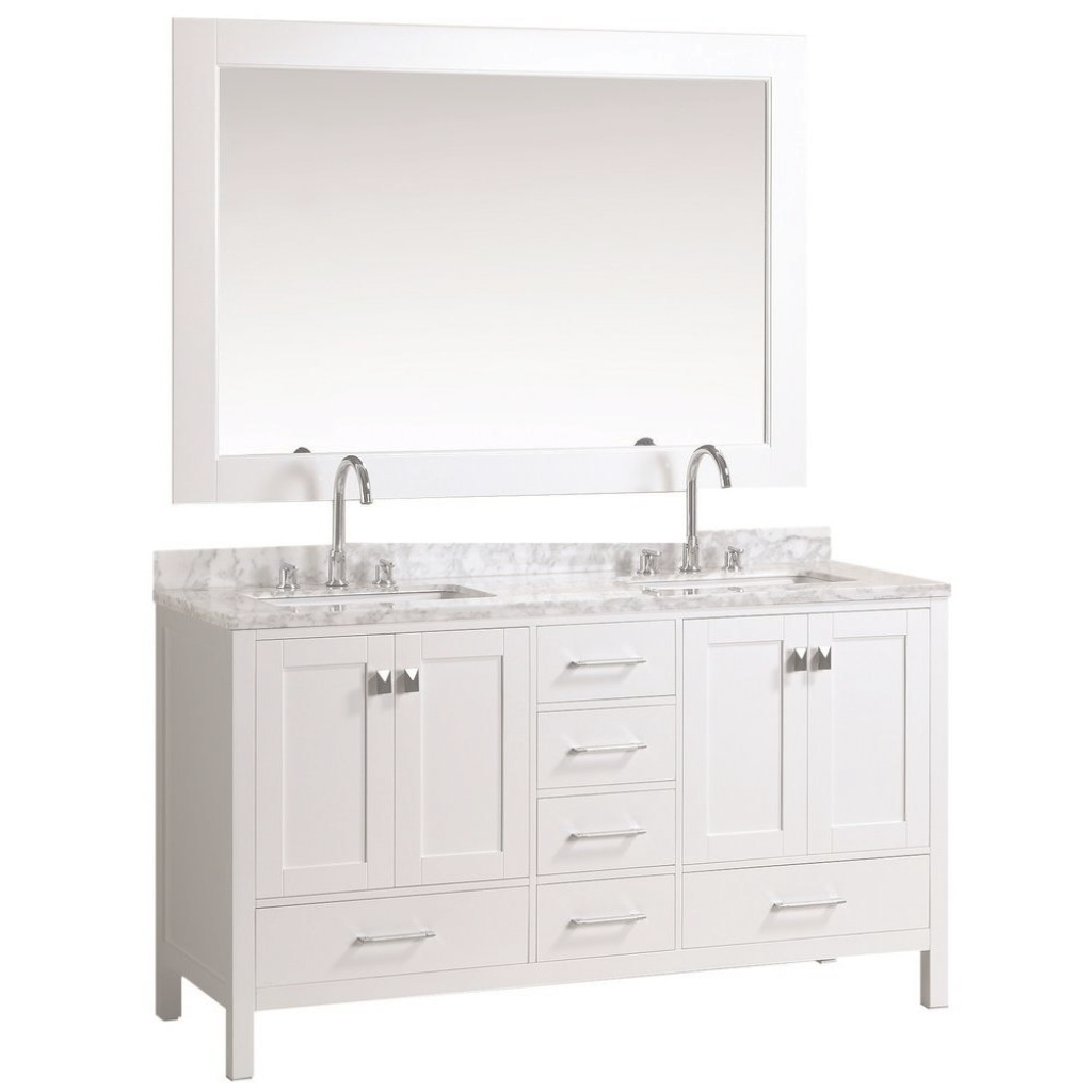 Modular Design Element London 61 In. W X 22 In. D Double Vanity In White throughout White Bathroom Vanity Home Depot