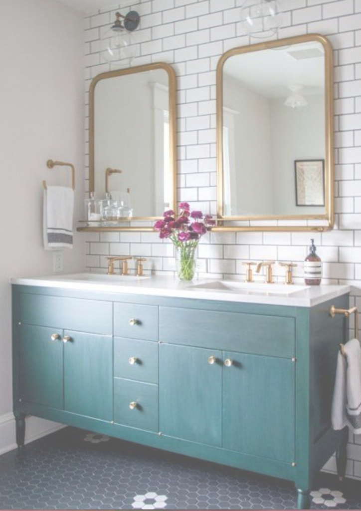 Modular Double Sink Gold,teal&subway Tiles | Abode- Living Room | Pinterest within Inspirational Gold Bathroom Mirror