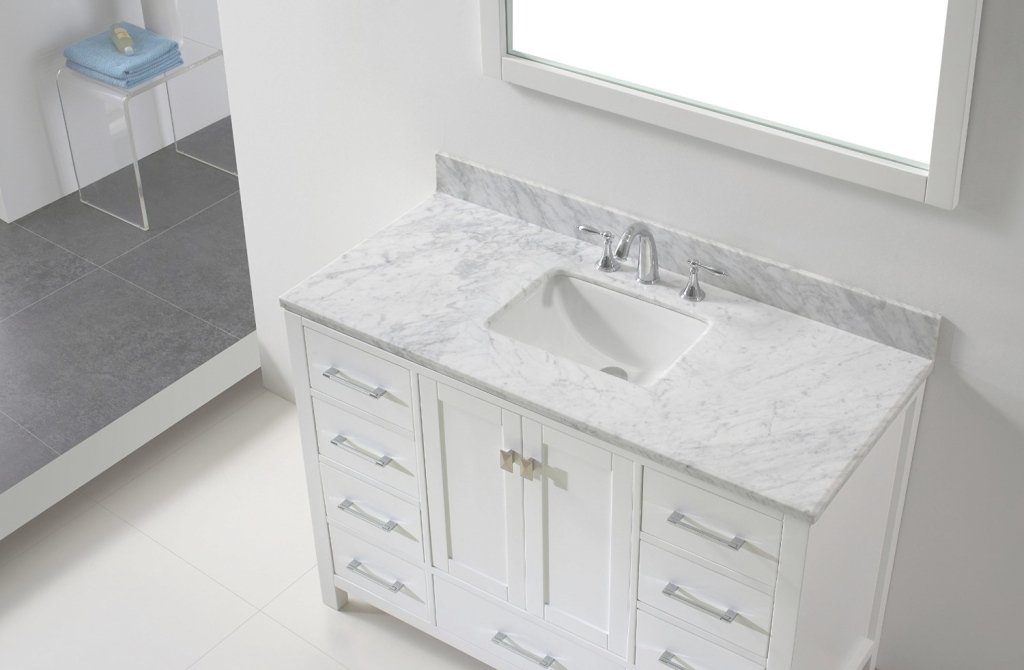 "Modular Eviva Aberdeen 42"" Transitional White Bathroom Vanity With White throughout Lovely White Bathroom Vanity With Top"