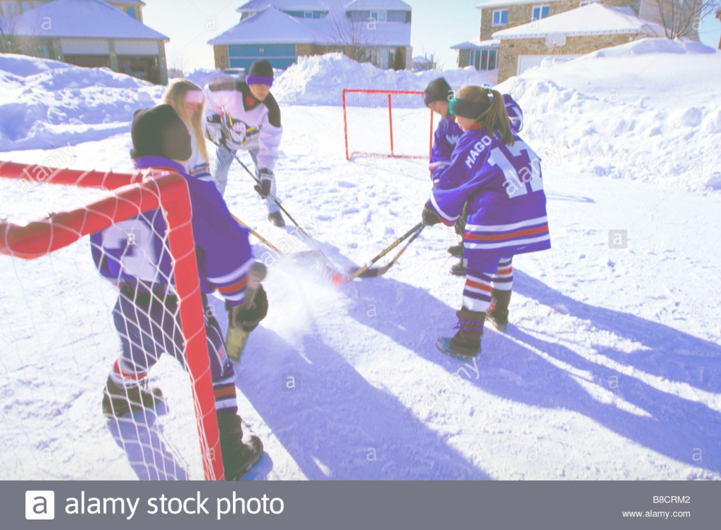 Modular Fv0259, Dave Reede; Children Playing Backyard Hockey Stock Photo intended for Luxury Backyard Hockey
